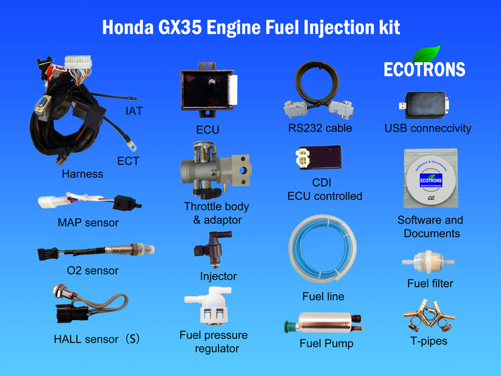 Honda GX35 engine fuel injection conversion kit